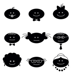Funny faces set vector image vector image