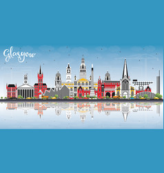 Glasgow scotland city skyline with color vector
