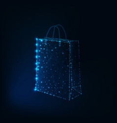 Glowing low polygonal shopping bag made of stars vector