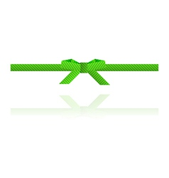 Green dashed bow and green dashed ribbon vector