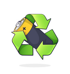 Green recycling symbol with battery inside vector
