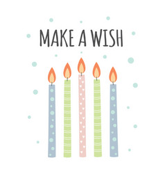 greeting card with candles isolated on white vector image