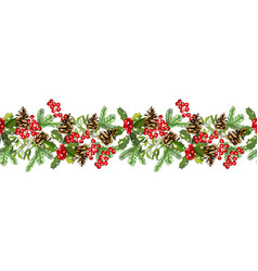 hand drawn pattern with red berries hand drawn vector image