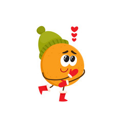 happy cute orange character in winter clothes vector image