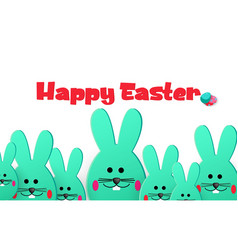 happy easter easter large and small bunnies vector image