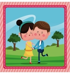 Happy lovely couple valentine day rural landscape vector
