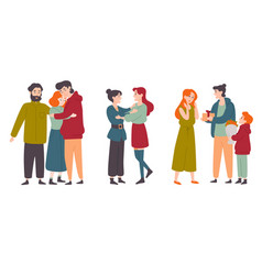 happy people hugging congratulate each other vector image