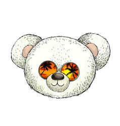 head white plush teddy bear in sunglasses vector image