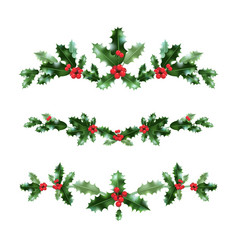 Holly nature set vector