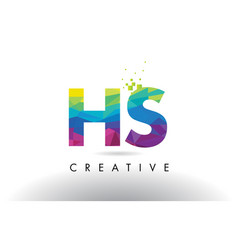 Hs h s colorful letter origami triangles design vector