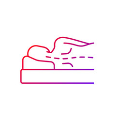 Incorrect sleeping position gradient linear icon vector
