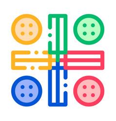 Interactive kids ludo game thin line icon vector