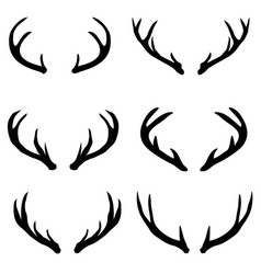 Large collection of deer silhouettes vector