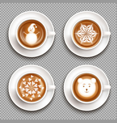 Latte art cups top view vector