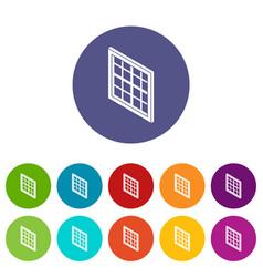 lattice window frame icons set color vector image