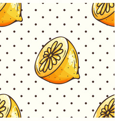 Lemon pattern with polka dots vector