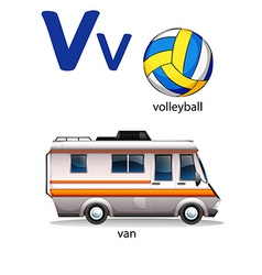Letter V for volleyball and van vector