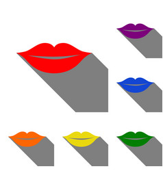 Lips sign set of red orange yellow vector