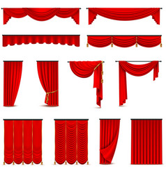 Luxury Red Curtains Draperies Realistic Set vector
