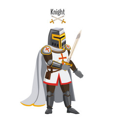 medieval knight in armor warroir with a sword in vector image