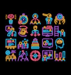 Mentor relationship neon glow icon vector