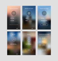 Mobile app ui sign in and sign up screens mockup vector