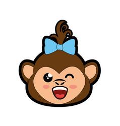 Monkey kawaii cartoon vector