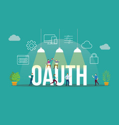 Oauth open authorization concept with people vector