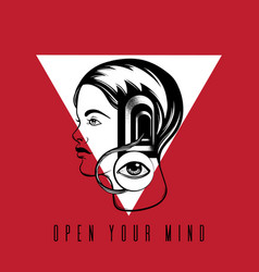 Open your mind quote typographical background vector