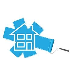paint roller blue vector image