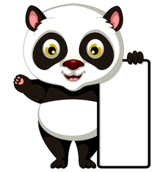 panda cartoon posing with blank sign vector image