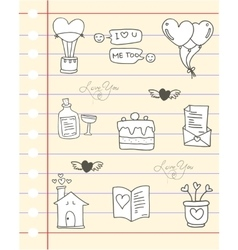 Paper love hand draw of doodles vector