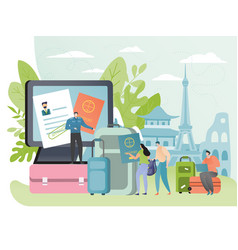 People apply for visa to travel abroad tourist vector