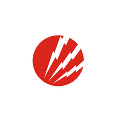 red circle with thunderbolt design eps 10 vector image