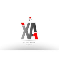 Red grey alphabet letter xa x a logo combination vector