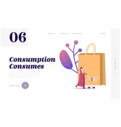 Sale consumerism landing page template female vector