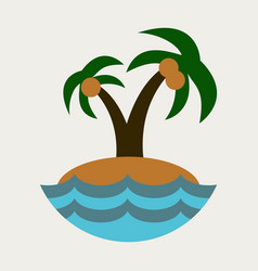 sea view from the beach palm tree on shore vector image