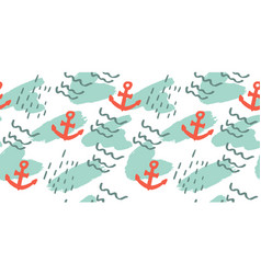 Seamless pattern with hand drawn anchor vector