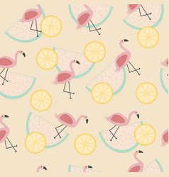 seamless tropical pattern with animal pink vector image