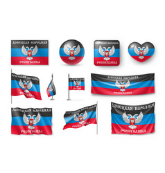 set donetsk people republic flags banners vector image