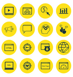 Set of 16 seo icons includes coding video player vector