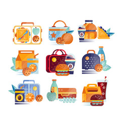 set of icons with lunch boxes and bags with vector image