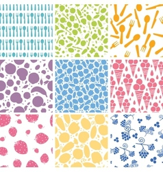 Set of nine food seamless patterns backgrounds vector image