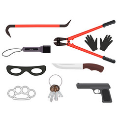 set of objects elements of a thief tools vector image