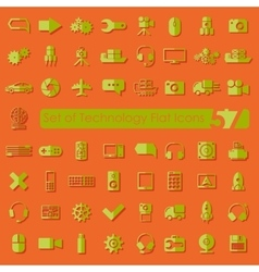 Set of technology flat icons vector image