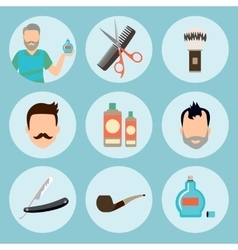 Set of vintage barber shop elements logo labels vector image