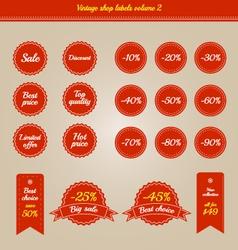 Set of vintage shop labels - sales volume 2 vector image