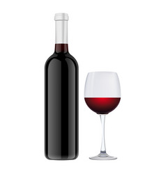 set wine bottle with wine glass vector image