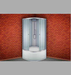 Shower cabine and red brick wall bathroom vector