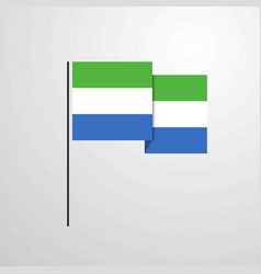 sierra leone waving flag design background vector image